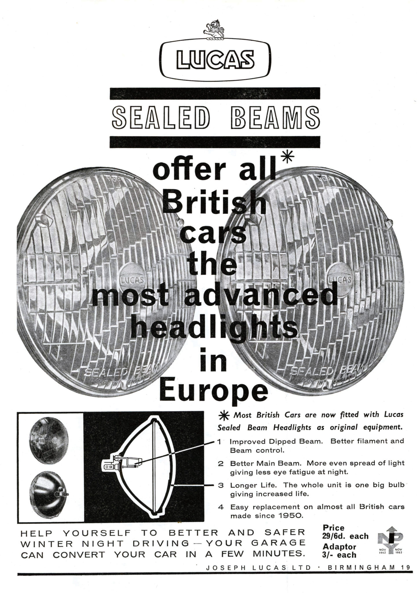 Lucas Sealed Beam Advert